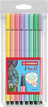 , Viltstift STABILO Pen 68 pastel etui à 8 kleuren