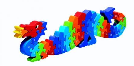 , Houten puzzel Draak - Leren tellen 1-25 - Lanka Kade