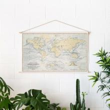 , Wereldkaart katoenen cotton map Oceans