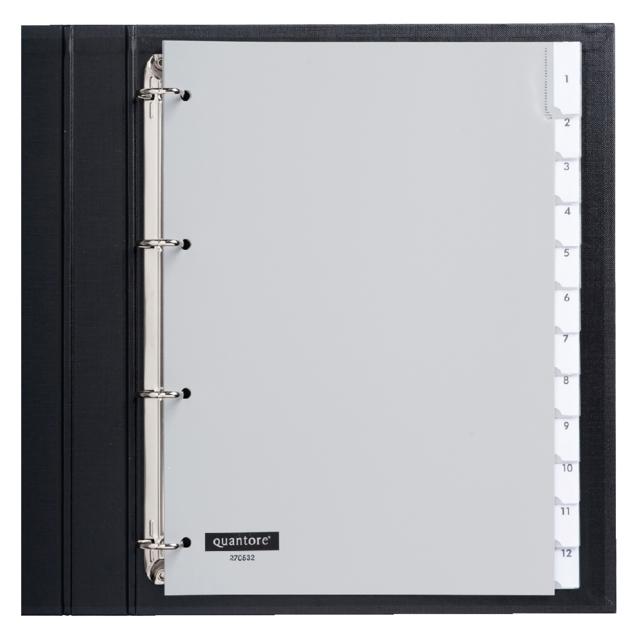 ,Tabbladen Quantore 4-gaats 12-delig met venster grijs PP