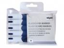 ,glasboardmarker Sigel 2-3mm ronde punt 5 stuks in etui blauw