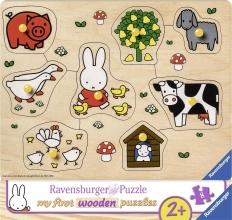 Rav-036882 , Houten puzzel nijntje op de boerderij 8 stuks