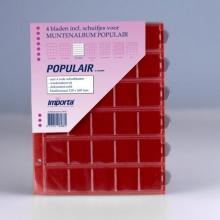 0830r , Importa populair muntalbumbladen 4 stuks 30 vakken rode schutbladen
