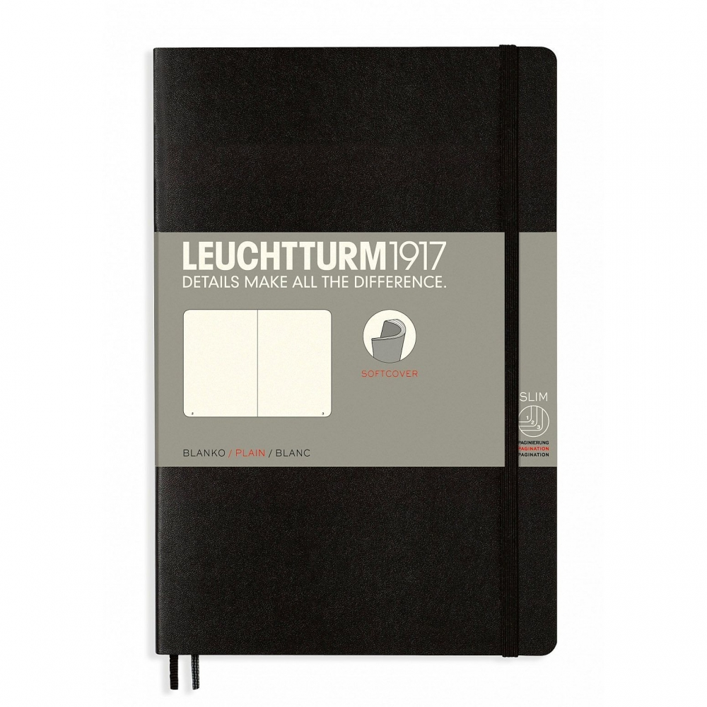 Lt358292,Leuchtturm notitieboek softcover 19x12.5 cm blanco zwart