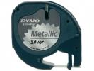, Labeltape Dymo Letratag 91208 metallic 12mm zwart op zilve