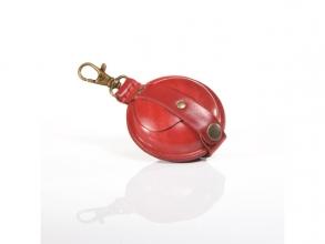 , sleutelhanger Mika klein zadelleer opbergvak voor munten.   rood