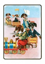 Dachshunds on a Train Birthday Greeting Cards