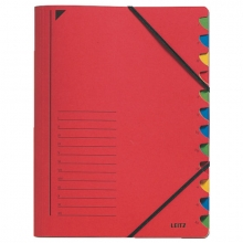 , Sorteermap Leitz 3912 12-delig karton rood
