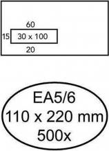 , Envelop Quantore 110x220mm venster 3x10cm links zelfkl 500st