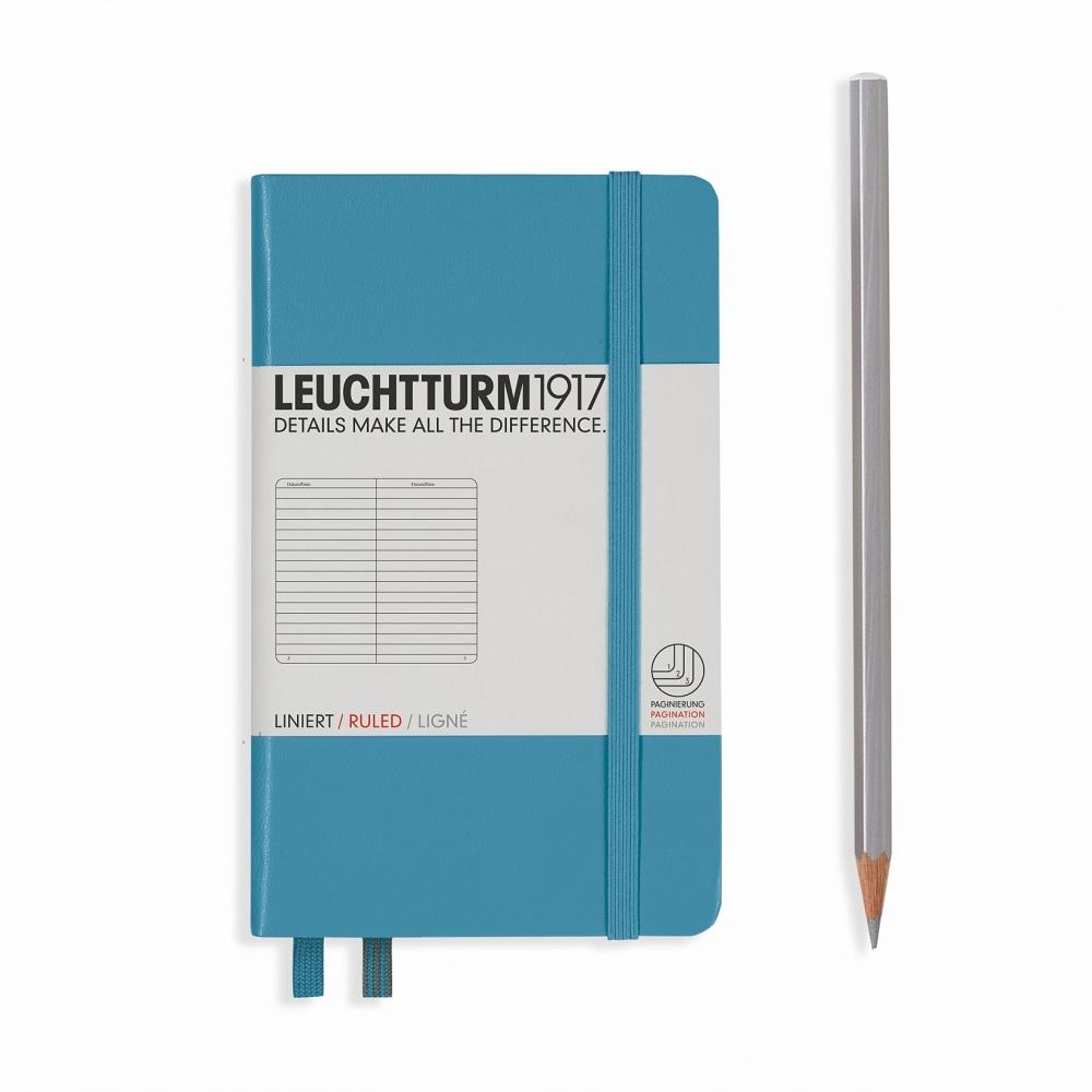 Lt354579,Leuchtturm notitieboek pocket 90x150 lijn nordic blauw