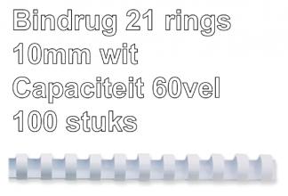 , Bindrug Fellowes 10mm 21rings A4 wit 100stuks