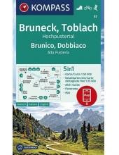 Kompass-Karten Gmbh , KOMPASS Wanderkarte Bruneck, Toblach, Hochpustertal Brunico, Dobbiaco, Alta Pusteria 1:50 000
