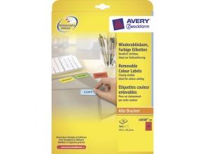 , etiket Avery ILK 45,7x21,2mm 20 vel 48 etiketten per vel    rood