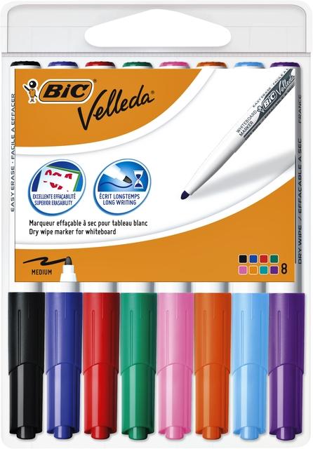 ,Viltstift Bic 1748 whiteboard rond ass 1.4mm blister à 8st