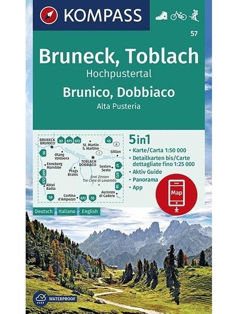 Kompass-Karten Gmbh,KOMPASS Wanderkarte Bruneck, Toblach, Hochpustertal Brunico, Dobbiaco, Alta Pusteria 1:50 000