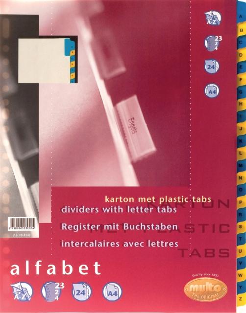 ,Tabbladen Multo A4 23-rings 24-delig A-Z blauw/geel karton 170gr