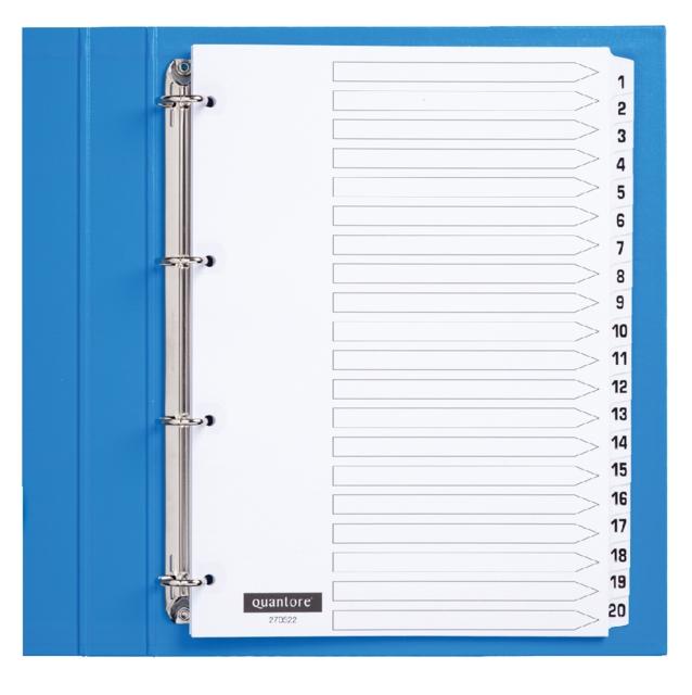 ,Tabbladen Quantore 4-gaats 1-20 genummerd wit karton