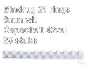 , Bindrug GBC 8mm 21rings A4 wit 25stuks