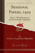Assembly, Ontario Legislative Assembly, O: Sessional Papers, 1929, Vol. 61