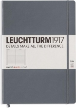 Lt344812 , Leuchtturm notitieboek master slim a4 lijn antraciet