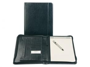 , Schrijfmap Brepols A4 Palermo luxe  met rits en blok zwart