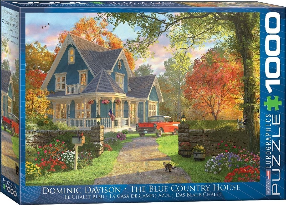 Eur-6000-0978,Puzzel the blue country house - dominic davison 1000 stuks