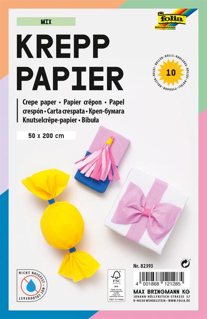 ,Crepepapier Folia 50x200cm Mix 10kleuren