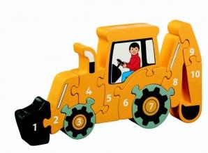 , Houten puzzel Graafmachine - Leren tellen 1-10 - Lanka Kade