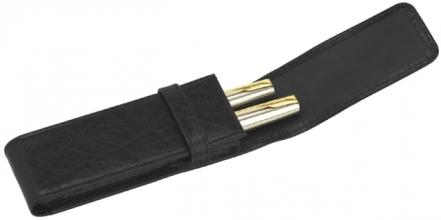 , Pennenetui 322 2delig nerfleer zwart