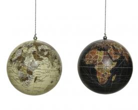 , Kerstbal wereldkaart assorti