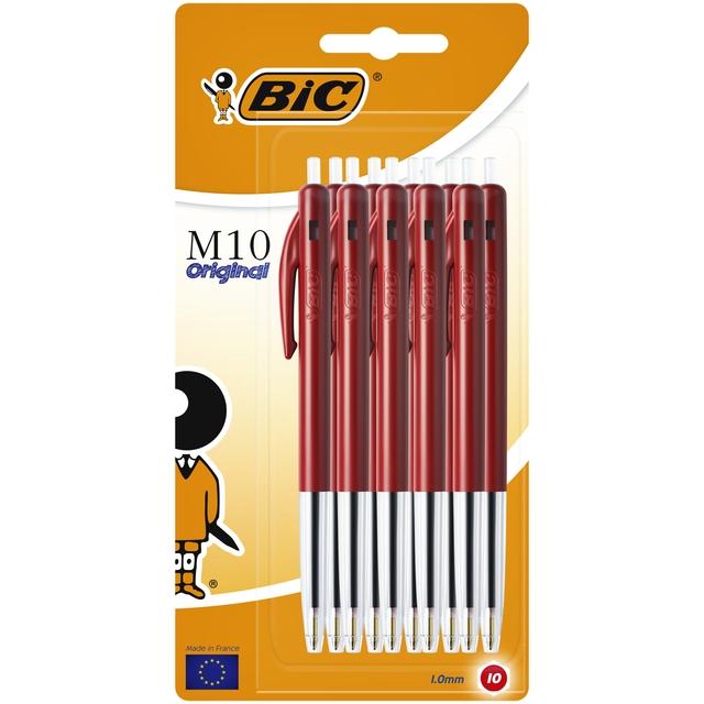 ,Balpen Bic M10 rood medium blister à 10 stuks