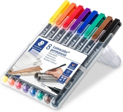 , Viltstift Staedtler Lumocolor 313 permanent S set à 8 stuks assorti