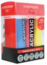 Talens amsterdam acrylverf 4 tubes primair + wit 120 ml met 3 doseringstuitjes