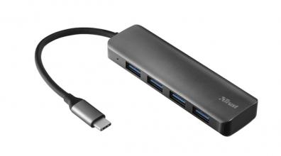, Hub Trust Halyx USB-C 4-poorten USB-A 3.2 zwart