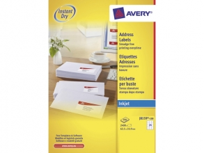 , inkjetetiket Avery 63,5x33,9mm wit 100 vel 24 etiketten per vel