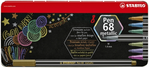 , Viltstift STABILO Pen 6808/8-32 metallic blik à 8 kleuren