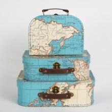 Koffer set 3 stuk RETRO vintage world map