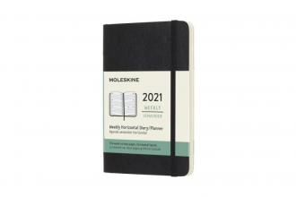 , Moleskine 12 MND Agenda - 2021 - Wekelijks Horiz. - Pocket (9x14 cm) - Zwart - Zachte Kaft