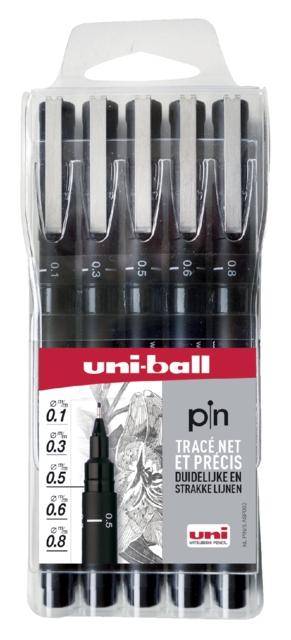 ,Fineliner Uni-ball Pin zwart etui à 5 breedtes