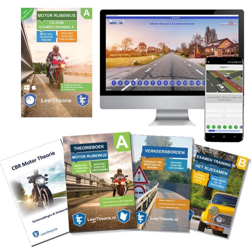 ,Theorieboek Motor Rijbewijs A 2020  Motor CD-ROM - Motor Theorieboek - Motor Theorie Samenvatting - Verkeerborden overzicht - Praktijk informatie