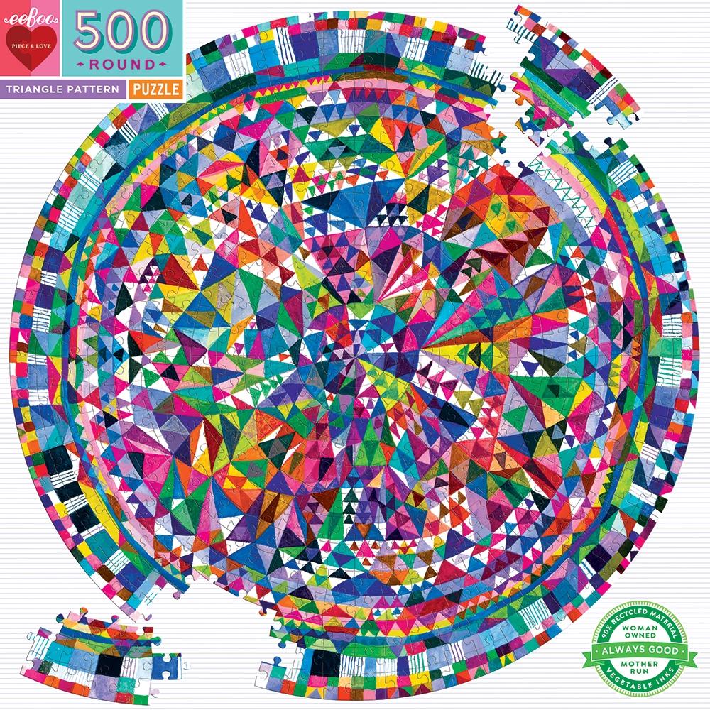 ,Puzzel eeboo - triangle pattern - 500 stukjes - 58.5 rond