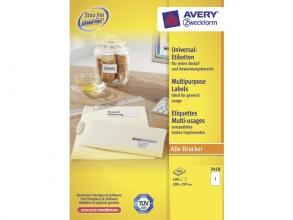 , etiket Avery ILK 210x297mm 100 vel 1 etiket per vel wit