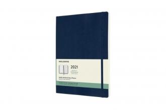 , Moleskine 12 MND Agenda - 2021 - Wekelijks - XL (13X25 cm) - Sapphire Blauw - Zachte Kaft