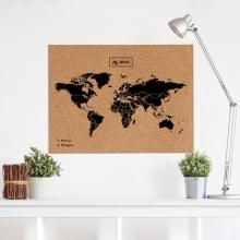 , Wereldkaart kurk XL zwart 90 x 60cm
