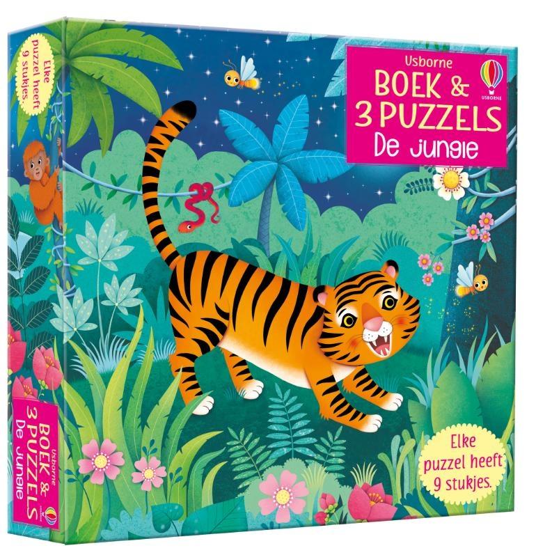 ,Boek & 3 Puzzels De jungle