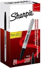 , Viltstift Sharpie rond 1.0mm F valuepack á 20+4 gratis zwart
