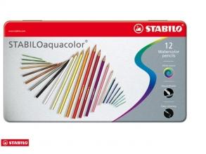 , Kleurpotloden STABILO aquacolor 1612 blik à 12 kleuren