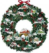 , Wand-Adventskalender - Winterhäuschen-Weihnachtskranz