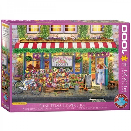 Eur-6000-5518,Puzzel plush petals flower shop paul normand- eurographics 1000 stukjes 48x68cm