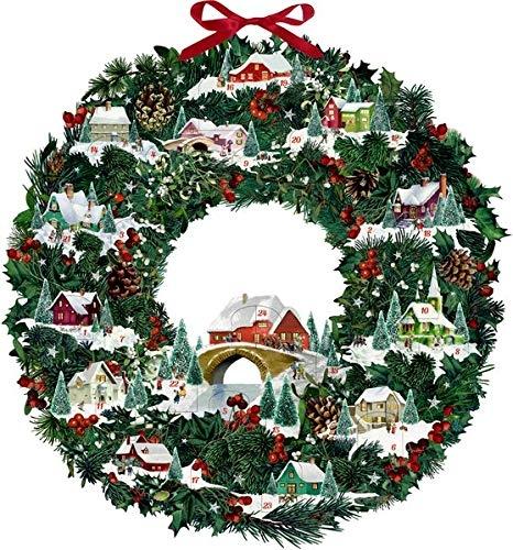 ,Wand-Adventskalender - Winterhäuschen-Weihnachtskranz